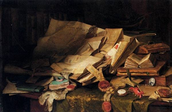 Still Life Books And Papers On A Desk